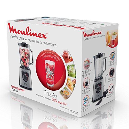 Moulinex-Perfect-Mix-LM811D10-1200-W-Mixer-glasierter-Edelstahl-hintergrundbeleuchteter-Geschwindigkeitsregler-3-Programme-manueller-und-automatischer-Reinigungsmodus