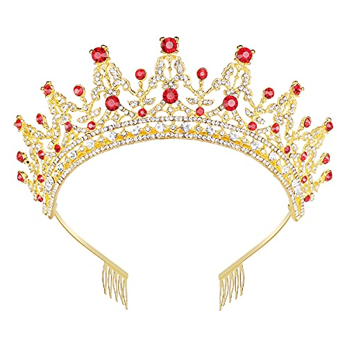 Makone Queen Crown for Womens Gold Tiara with Clear Rhinestone for Halloween Birthday Girls Prom Halloween Bridal Party - Gold (Red-gold)