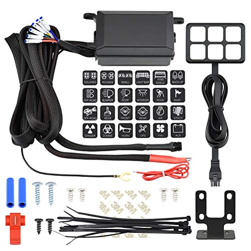 Cllena Universal 6 Gang ON/Off Switch Panel with Relay System Fuse Box Wiring Harness Assembly Kit for Car Auto Truck Camper Rv ATV UTV Jeep Off-Road Marine Boat Accessories