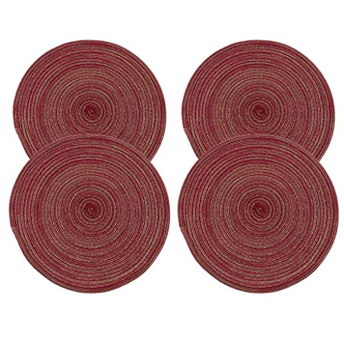 MagiDeal Juego de 4 Manteles Individuales para de Comedor Alfombrillas Aislantes Impermeables Rojo