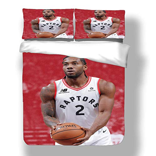 Duvet Cover Set Kawhi Los Angeles Basketball Player 2 Bedding Fun Guy Leonard Clippers Super Star Hook Shot Dunk Quilt Coverlet with 2 Pillow Shams FMVP San Antonio Toronto SpursRaptors