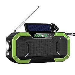 Solar Radio Portable Hand Crank Radio Bluetooth Wireless Speaker Better Bass Ipx6 Resistance Soundbar Subwoofer Am/Fm/NOAA Radio Sos Green