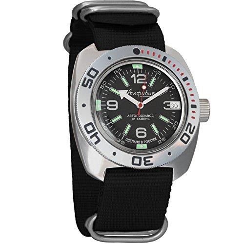 Vostok Amphibian automático Mens Reloj de pulsera Self-winding Militar buceo anfibios Ministerio caso reloj de pulsera # 710640