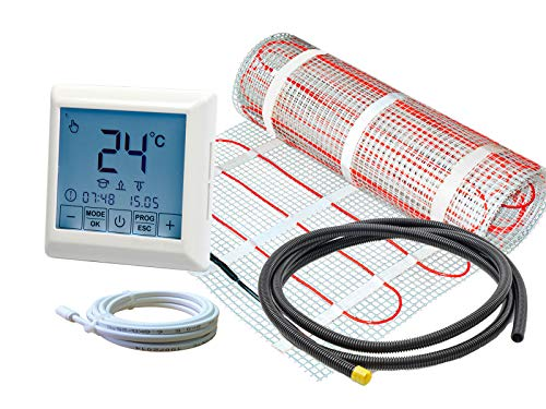 Thermostat RT-40 mit elektrischer Fußbodenheizung SunPro 160 W/m² für Fliesen (1,5 m² - 0,5 x 3 m)