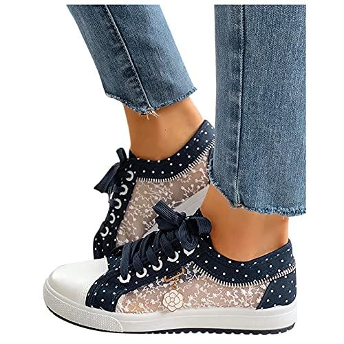 BIBOKAOKE Freizeitschuhe Damen Bestickte Sneaker Spitze Atmungsaktive Stoffschuhe Elegante Frauen Schnürhalbschuhe Laufschuhe Leicht Sportlich Freizeit Flache Schuhe Walkingschuhe