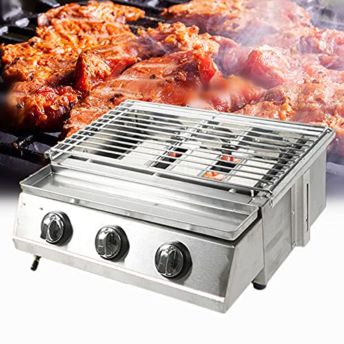 Portable Gas Grill 3-Burner Tabletop BBQ Propane Gas Grill Barbecue Gas Camping Cooking Stove + Sink + Steel Shield for Outdoor Grilling Camping Picnic Traveling Accessories Camping Grills Stove