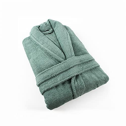 PimpamTex – Albornoz Unisex 100% Algodón con Cuello Tipo Smoking para Hombre y Mujer - (Talla M, Verde)