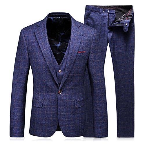 WEEN CHARM Men's 3-Piece Suit Plaid Blazer Vest & Pants
