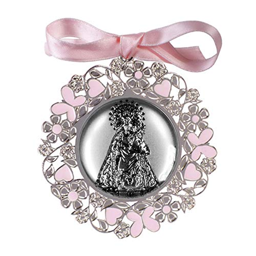 DOCOLASTRA Medalla de cochecito o cuna de la Virgen de los Desamparados en color azul o rosa en plata bilaminada y esmalte.Personalizable.
