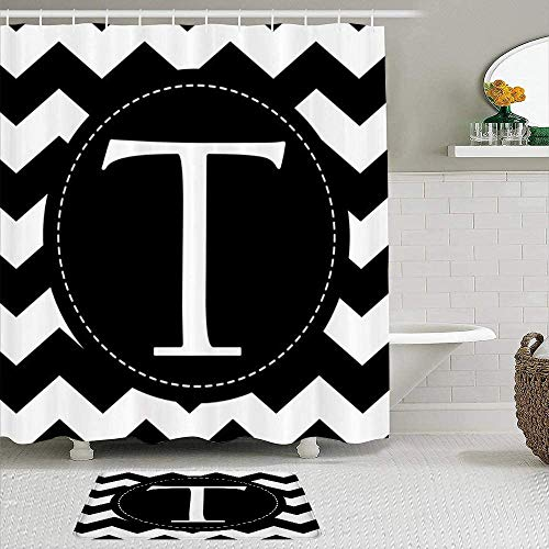 BYRON HOYLE Chevron Monogram Letter T Shower Curtain with Rings Polyester Fabric Shower Curtains with Hooks Bath Bathroom Decor