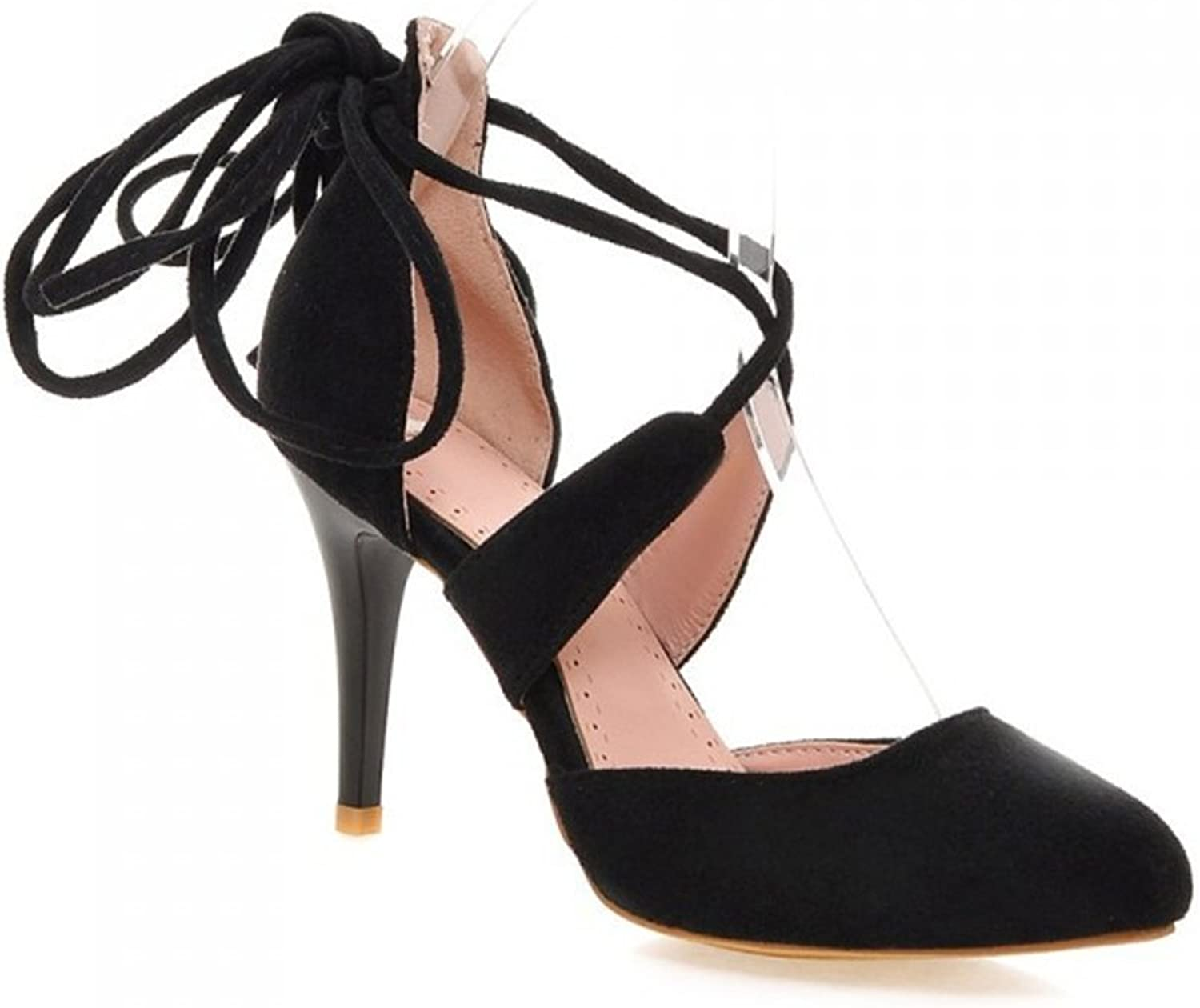 Women Ankle Lace-Up High Block Heel Office Work Court Pointed Toe Suede High Heel shoes Sandals