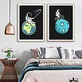 Arte de Pared Astronauta Rocket Hero Space Explorer Alien Lienzo Cuadro Carteles nórdicos e Impresiones Imágenes de Pared Baby Kid Room Decor 50x72cmx2 Sin Marco