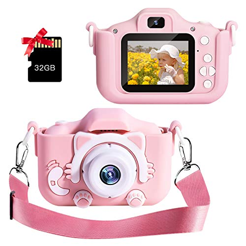 Camera Toy Kids Camera 32GB HD 2.0 Inches Screen Take Selfie Video Play Games Mini Child Camcorder for 3-14-Year-Old Girls Boys with Cartoon Anti-Drop Soft Silicone Case (Pink)