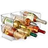Set of 6 Wine and Water Bottle Organizer, Stackable Plastic Wine Rack Holder for Pantry, Kitchen, Fridge, Ideal Storage for Wine, Soda, Pop and Beer, Clear