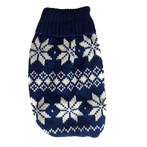 Naturhaus Hildegard Chihuahua Pullover | Hochwertige Hundebekleidung | süßer Norweger Winterpulli für kleine Hunde (Norweger dunkelblau)