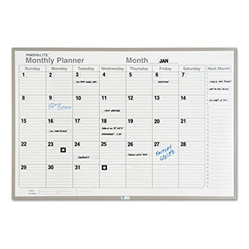 Magna Visual ML-231 Magna Visual Monthly Planning Board, Porcelain-On-Steel, 36 x 24, Gray