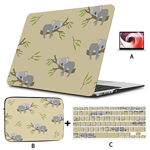 MacBook Pro 2018 Accessories Nature Cute Smile Cartoon Animal Koala MacBook Air Case Hard Shell Mac Air 11'/13' Pro 13'/15'/16' with Notebook Sleeve Bag for MacBook 2008-2020 Version