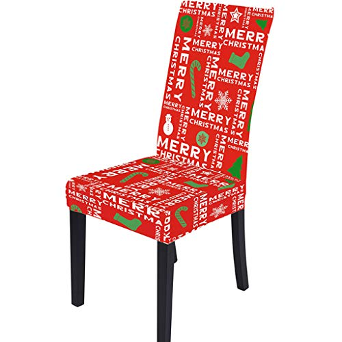 XINGYUE 1 x Stuhlhussen mit Weihnachtsmotiven, für Esszimmerstühle, dehnbar, abnehmbar, waschbar, für Weihnachten, Party-Dekoration.