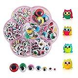 Geoyien Ojos de plástico para manualidades, 400 piezas ojos moviles manualidades con pestañas ojos m...