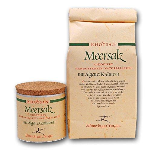 Sanquell GmbH Khoysan-Meersalz   Algen & Kräuter   handgeschöpft   naturbelassen   eines der besten Salze der Welt   1kg Nachfüllbeutel   200g Deko-Box (gefüllt)