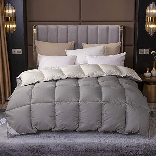 CHOU DAN Bettdecke Baumwolle Große weiße Daunendecke aus weißer Gänsedaunen, geeignet für alle Jahreszeiten. Hypoallergenes Etikett (Queen, weiß) 180x220 2000g