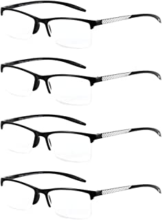 09fcba1735e0 4 Pairs Unisex Reading Glasses Rectangular Half-Frame Eyewear - Stylish  Readers Spring Hinges HD