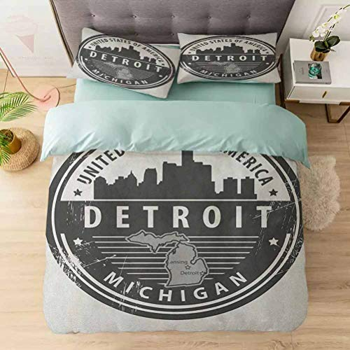 Aishare Store 3 Pieces Duvet Cover Set, Damaged Old Stamp of Michigan USA with City Map Location Tourism Travel, Printed Duvet Cover Set with Ultra-Soft Microfiber, Black White Grey