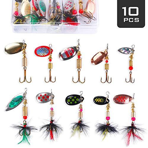 Akataka Fishing Lures Spinner Baits 10Pcs, Bass Trout Salmon Hard Metal Baits Fishing Lure Kit Set, Freshwater Saltwater Fishing Lures with Tackle Box (Style D)