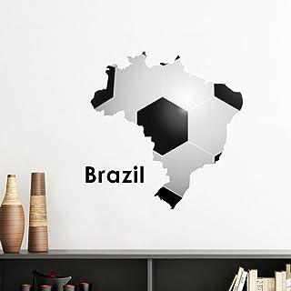 DIYthinker White Black Soccer Brazil Map Shape Brazil Slogan Removable Wall Sticker Art Decals Mural DIY Wallpaper for Roo...