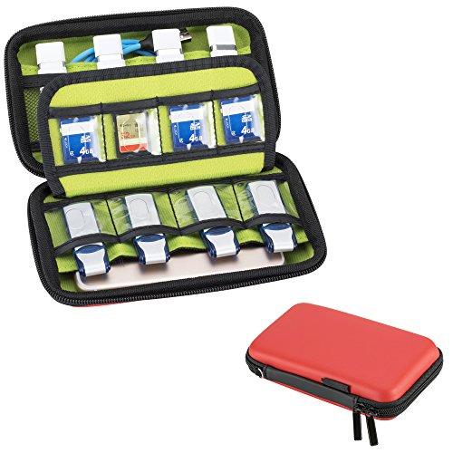 ZITFRI USB Sticks Tasche, Festplattentasche 2.5 Zoll/Aufbewahrungstasche für Festplatte, Organizer für SD Karte, Speicherkarten, Ladekabel etc (1Stk, Rot)