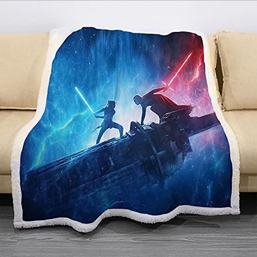 Manta De Tiro De Algodón para Sofá, Diseño De Impresión 3D Guerra De Las Galaxias Manta De Guía, Premium Microfibra Suave Y Cálida Manta Colorida (180X220Cm)