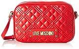 Love Moschino Precolección SS51 Bolso de hombro PU para mujer, New Shiny Quilted, Rojo, Normal