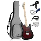 Ashthorpe 39-Inch Full-Size Electric Guitar with Humbucker Pickup (Red), Guitar Kit with Padded Gig Bag, Strap, Strings, Cable, Cloth, Picks