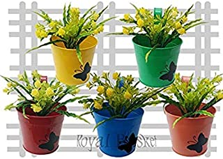 Royal Baskets Round Butterfly Railing Planter/Plant pots (Multicolor, Pack of 5)…