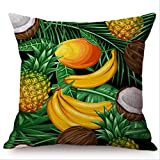 QIANGST Fodera per Cuscino a Forma di papaia con Frutta Tropicale e Avocado Decorativo Estivo per Sedia da Letto Divano Federa per Cuscino 45x45cm E