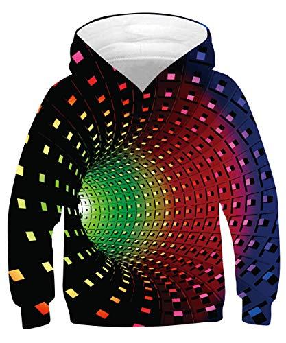 Rave on Friday Colore Swirl Hoodie Ragazzi Divertente Vortice Felpe con Cappuccio Cool 3D Stampa Pullover Manica Lunga Felpa con Tasca per Bambini S (6-7 Anni, 115-125 cm)