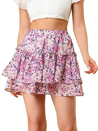 Allegra K Women's Floral Tiered Ruffle Skirts Cute Summer Mini Skirt Large Pink Purple