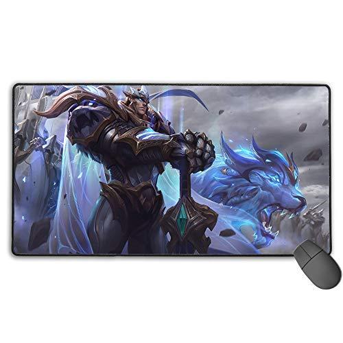 Alfombrilla de ratón impermeable para League Legends God King Garen, gran alfombrilla de ratón para juegos con bordes cosidos ultra gruesos, 3 mm x 40 cm