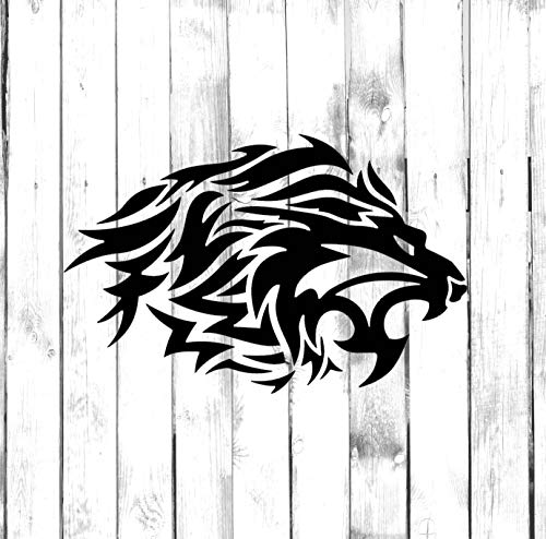 Yilooom Tribal Lion with Flowing Mane - Tribal Tattoo Di-Cut Design - Car Decal Sticker Bumper Sticker Window Stickers Laptop Sticker - 10 Inches - 2 Pack