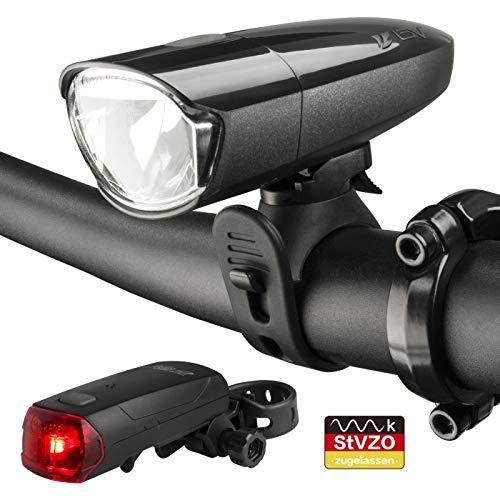 BV LED Batterie Fahrradlicht Set 30/15 Lux mit LED Rücklicht, StVZO Zugelassen LED Fahrradbeleuchtung Frontlicht und Rücklicht Set, 2 Licht-Modi Fahrradlampe, Fahrradlichter für Mountainbike