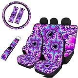 PZZ BEACH Trippy Style Tie Dye Purple Print, Breathable Car Front Rear Seat Covers+ Steering Wheel Cover+ Seatbelt Pads+ Wristlet Keychain, 8 Pcs Set