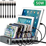 Simicore 6-Port USB Charging Station with 7 Short Charging Cables for Apple & Android Phones, Tablets & Other Devices - with Blue Charging Status Light (Space Gray)