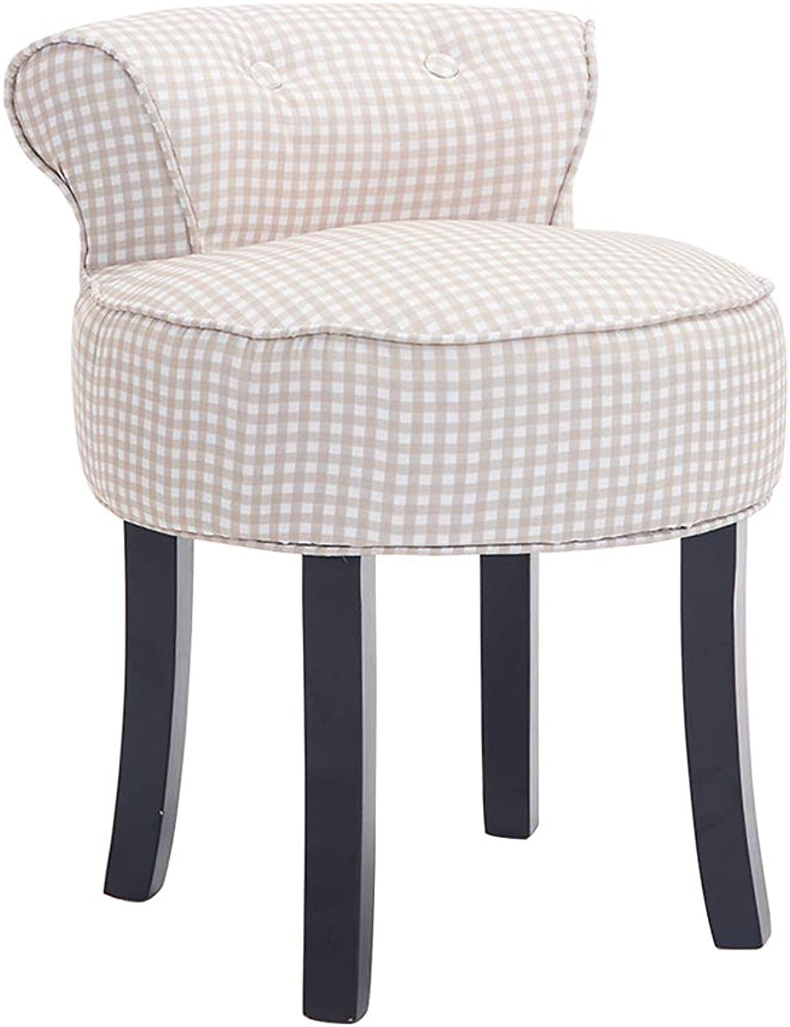 Armchairs Dressing Chairs Makeup Stools,Solid Wood Legs,Cotton and Linen Fabric,Loading 150KG,for Dressing Room Living Room,Size 40cm40cm57cm