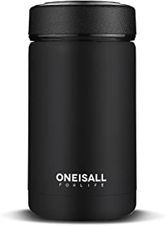 Thermal Travel Coffee Mug with Stainless Steel Strainer ONEISALL 13.5oz Insulated Vacuum Flask, Keeps Cold Hot for 6-24 Hours