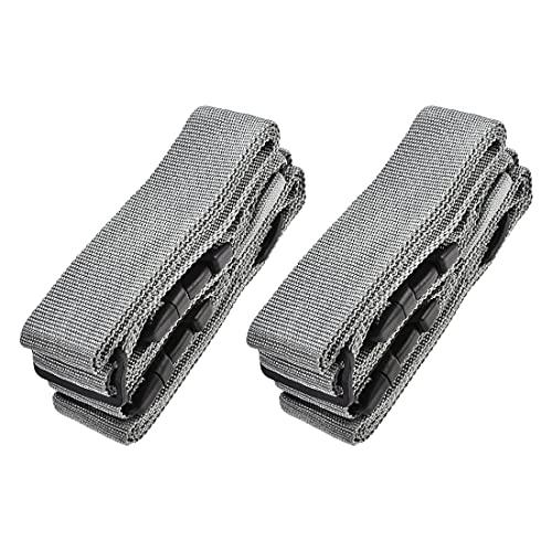 sourcing map Correas de equipaje Cinturones de maleta con 2 hebillas, 2 Mx5 cm Cruz ajustable PP viajes accesorios de embalaje, gris 2 piezas