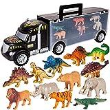 HERSITY Camion Trasportatore Veicoli Dinosauri Macchinine Giocattolo con 6 Dinosauri e 6 Animali Giochi Educativi per Bambini