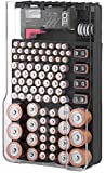 The Battery Organizer TBO1531 The Batt Storage Case with Hinged Clear Cover, Includes a Removable Tester, Holds 93 Batteries Various Sizes, Black