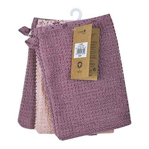 Wörner Lot de 3 gants de toilette 15 x 21 cm GOTS gant de toilette bébé, vieux rose