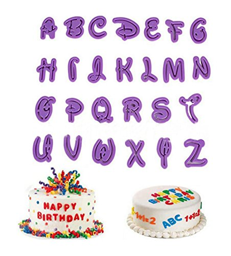 Set di 26 stampini con lettere e numeri, per realizzare decorazioni per pasta di zucchero, torte, biscotti e fondente. Utensili per decorazioni fai da te
