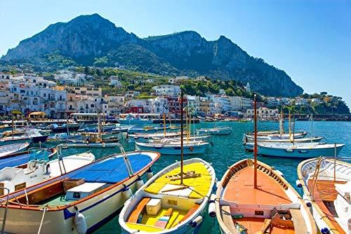 Capri, Italy - Boats in Harbor & Skyline A-9008363 (12x18 Signed Print Master Art Print - Wall Decor Poster)